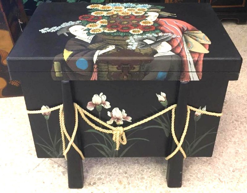 Hand Painted Asian Trunk