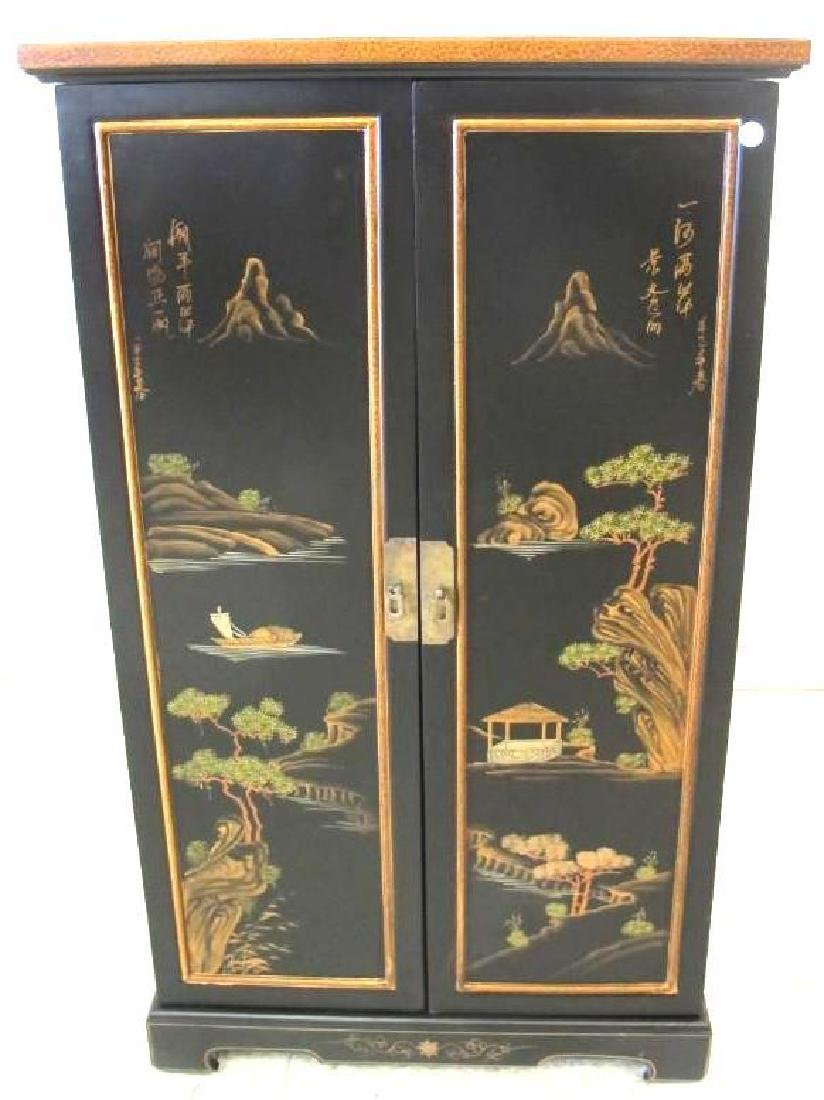 Chinoiserie Style Painted Storage Cabinet