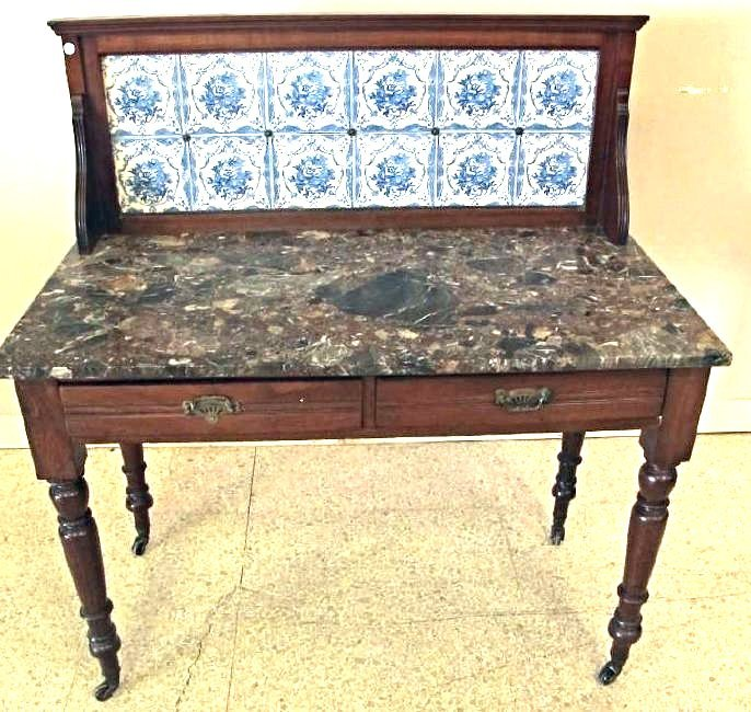 Mahogany Marble Top Sideboard With Tile Backsplash