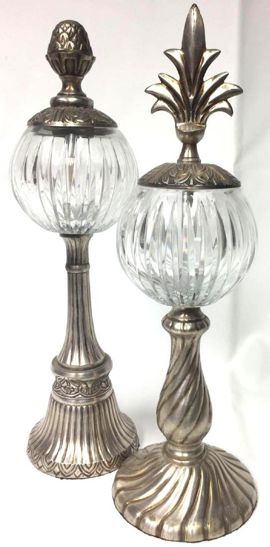 Pair of Silver Plated Globe Lamps