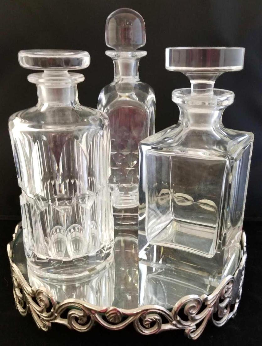 3 Crystal Decanters & Tray