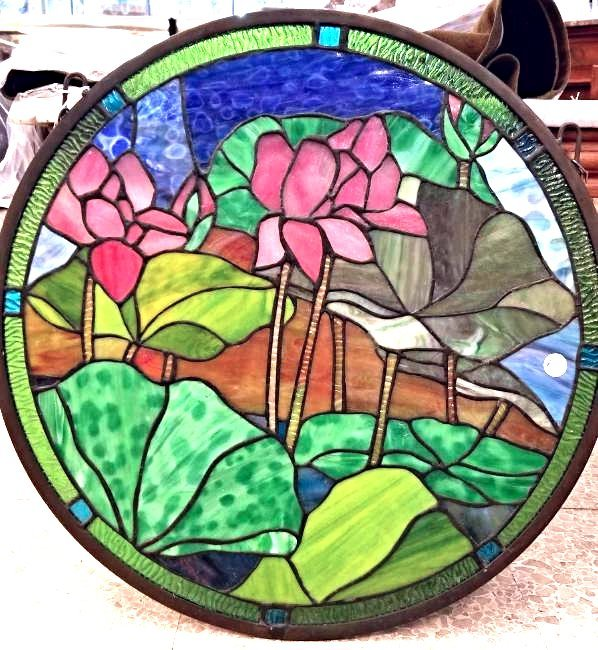 Floral Round Stained Glass