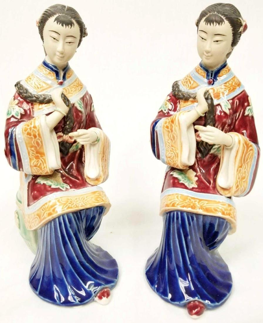 Pair of Chinese Ceramic Glazed Terracotta Sculptures