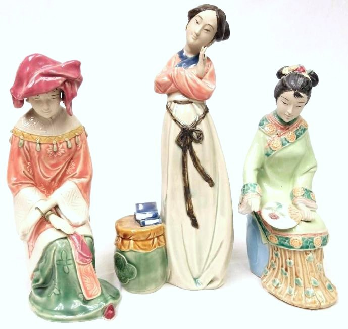 Three Chinese Ceramic Glazed Terracotta Women