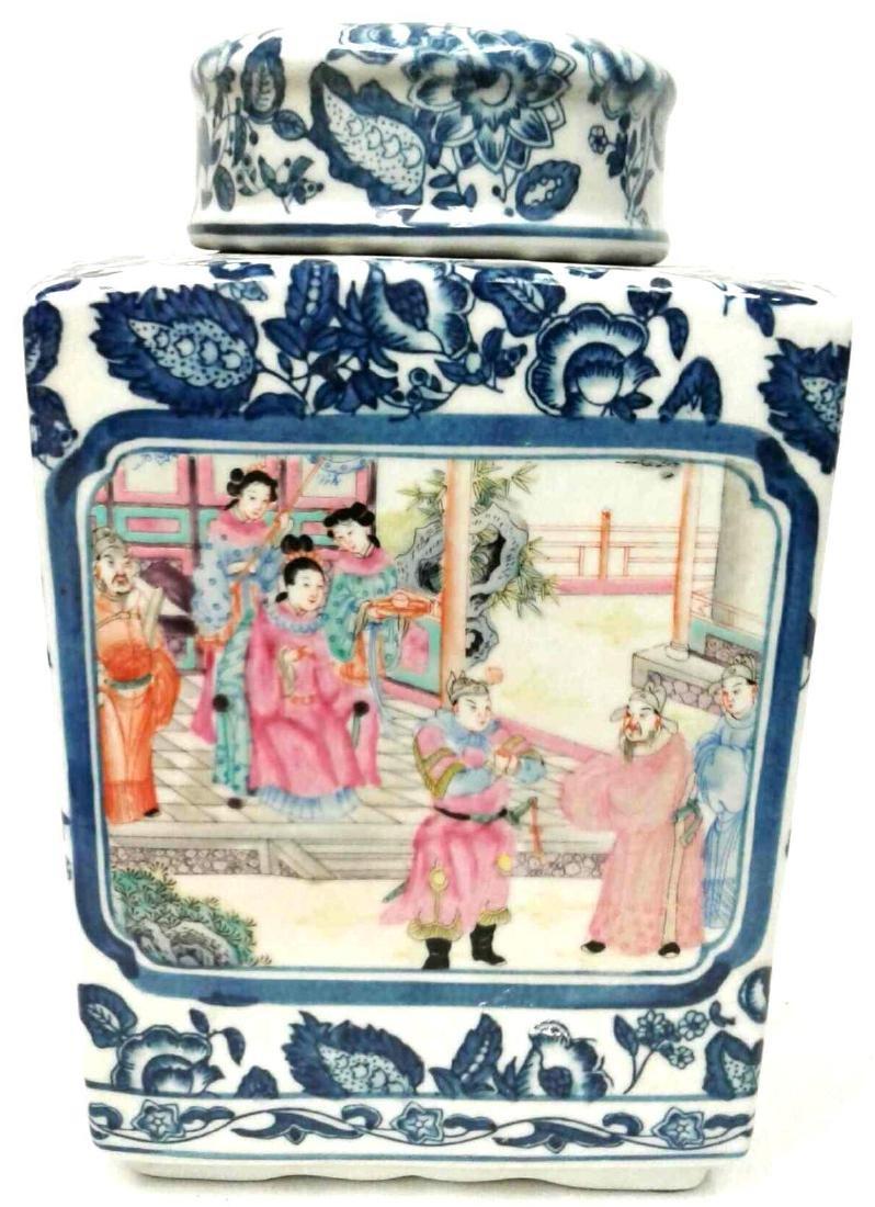 Chinese Underglaze Blue & White Rose Enameled Vase