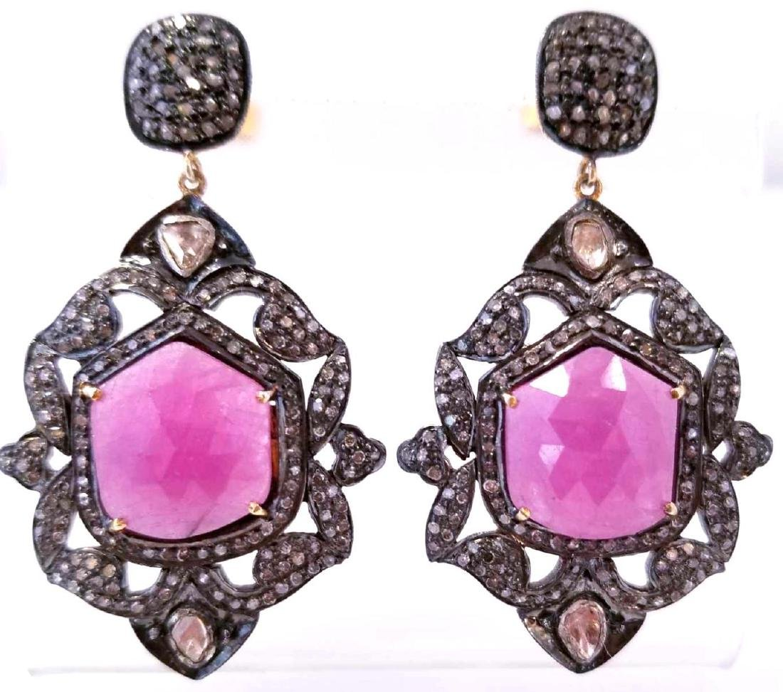 Art Deco Style SS Natural Ruby & Diamond Earrings