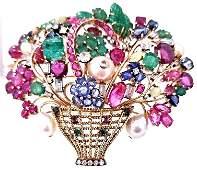 14KYG Van Cleef Style Multi-Gem Floral Basket Brooch