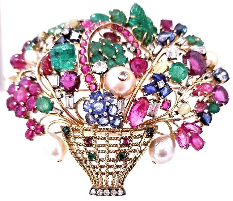 14KYG Van Cleef Style Multi-Gem Floral Basket Brooch