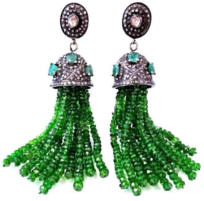 SS Diamond & Chrome Diopside Tassel Style Drop Earrings