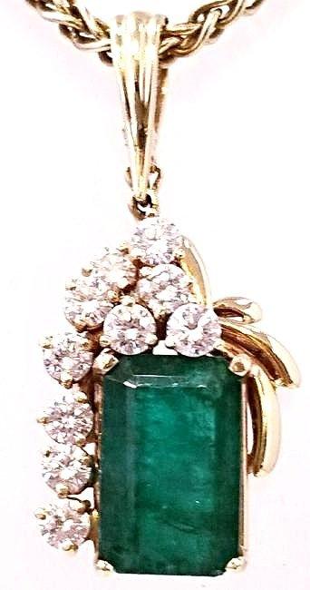 14K YG Emerald & Diamond Drop Pendant Necklace