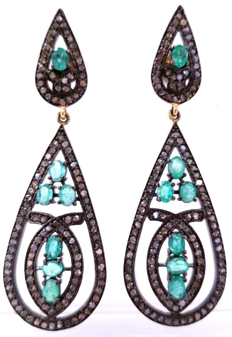 Art Deco Style SS Natural Emerald & Diamond Earrings