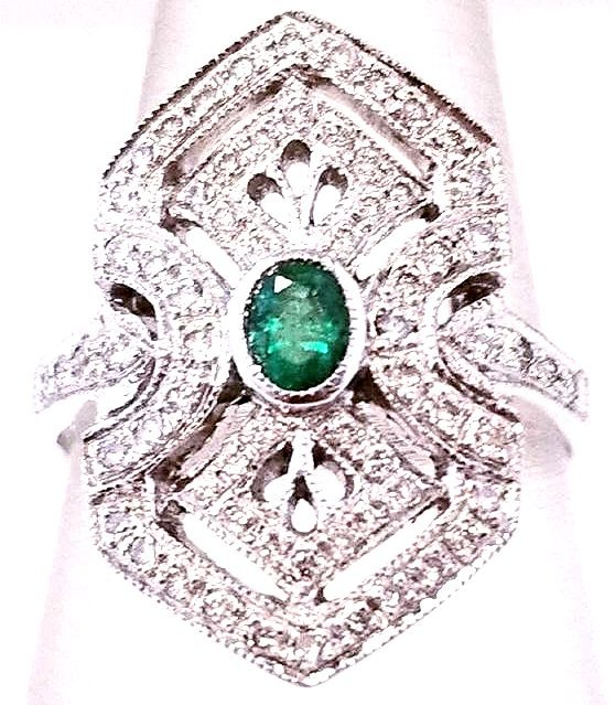 18K WG Art Deco Style Emerald & Diamond Ring