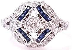 18K WG Art Deco Style Sapphire & Diamond Ring