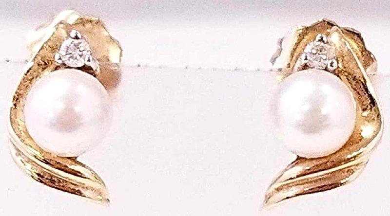 14K YG Pearl & Diamond Earrings