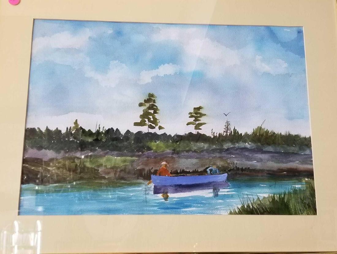 Fisherman in a Landscape Watercolor