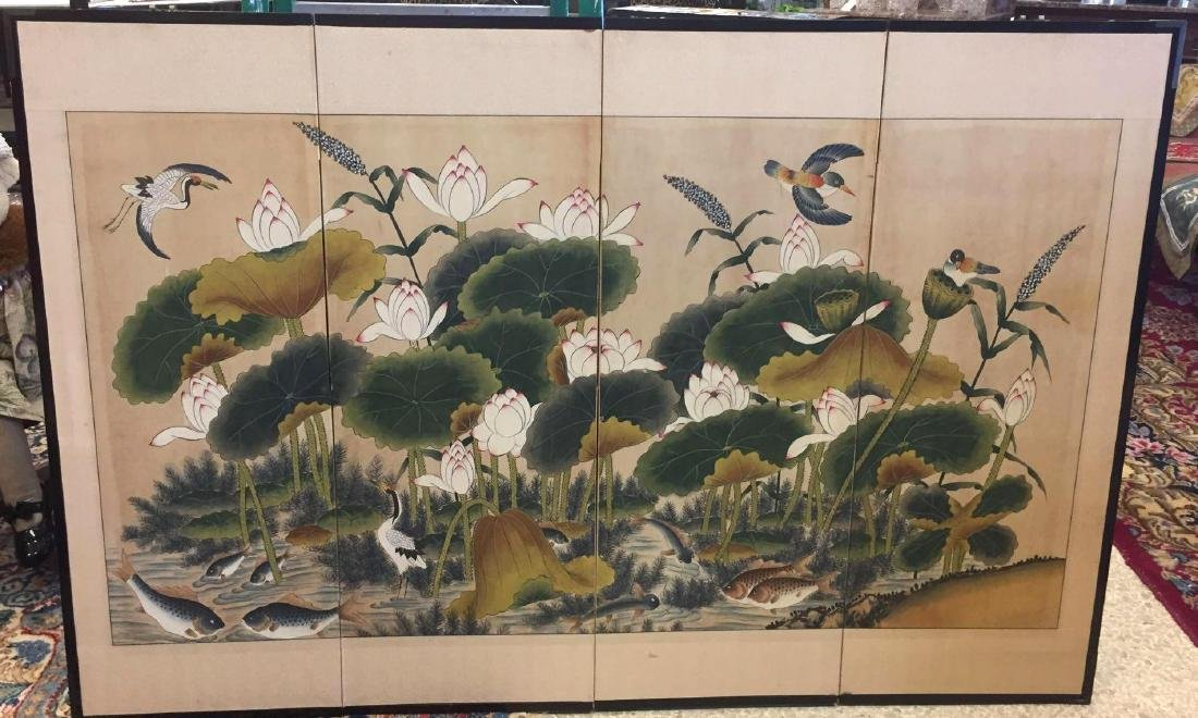 Vintage Asian Silk Four (4) Panel Screen