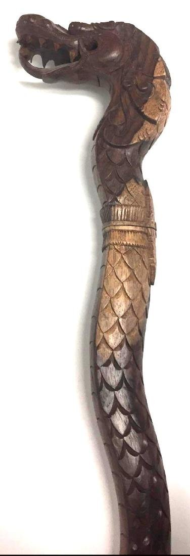 Vintage Wood Dragon Head Walking Stick