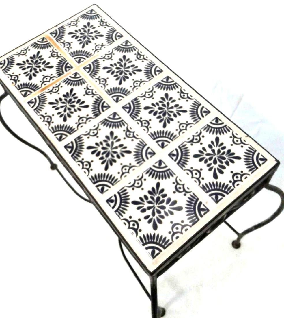 Wrought Iron Blue & White Mosaic Side Table