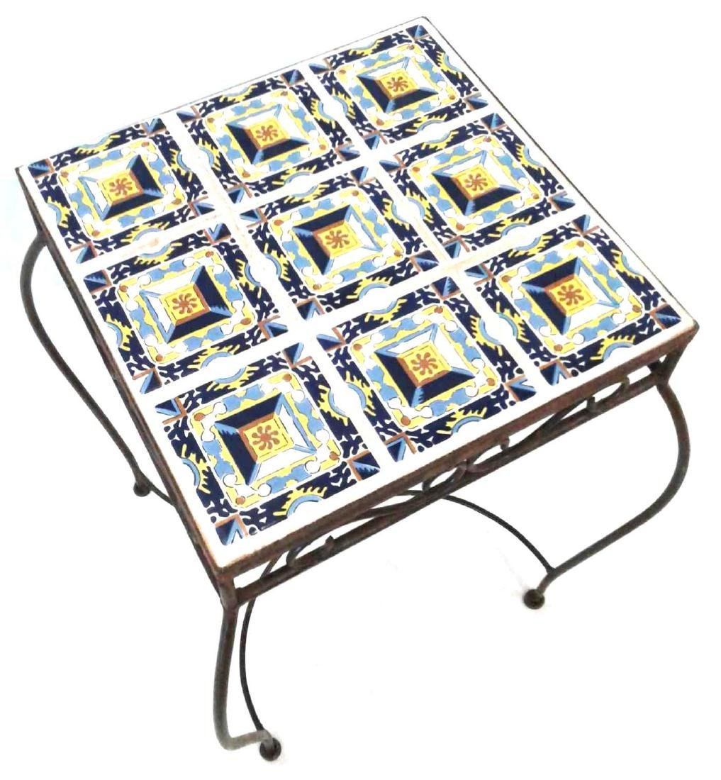Wrought Iron Mosaic Side Table