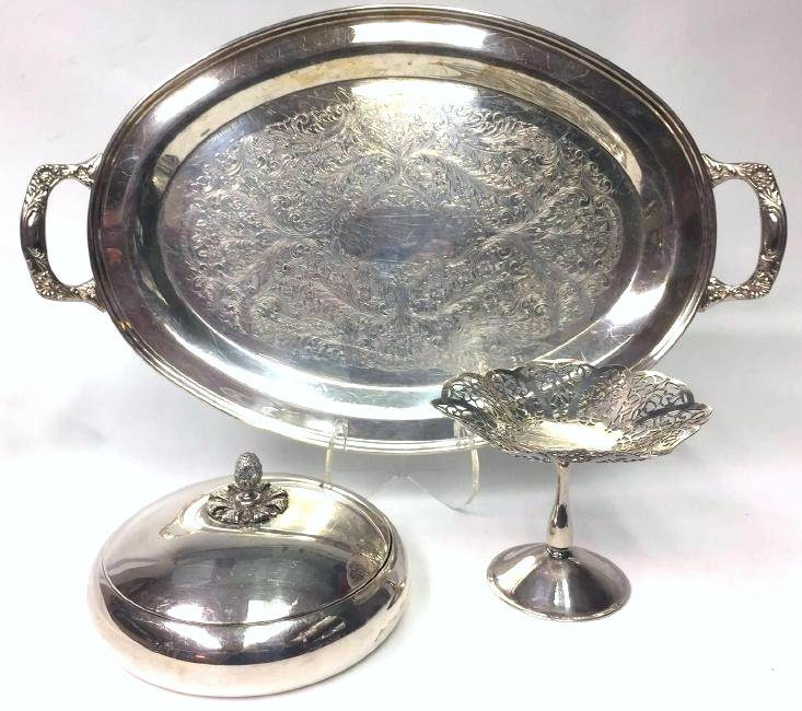 Lot of 3 Silver Plated Serving Pieces