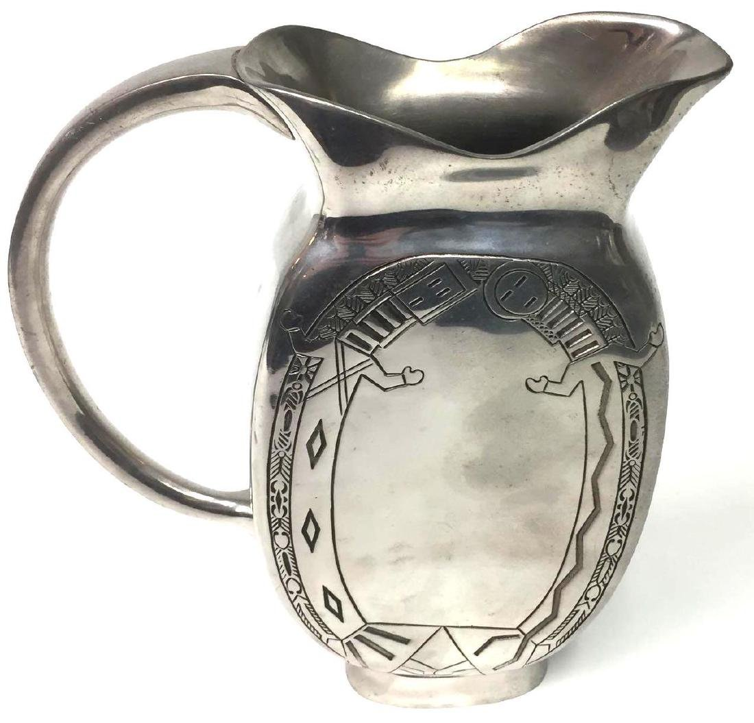 Native American Navajo Pewter Pitcher