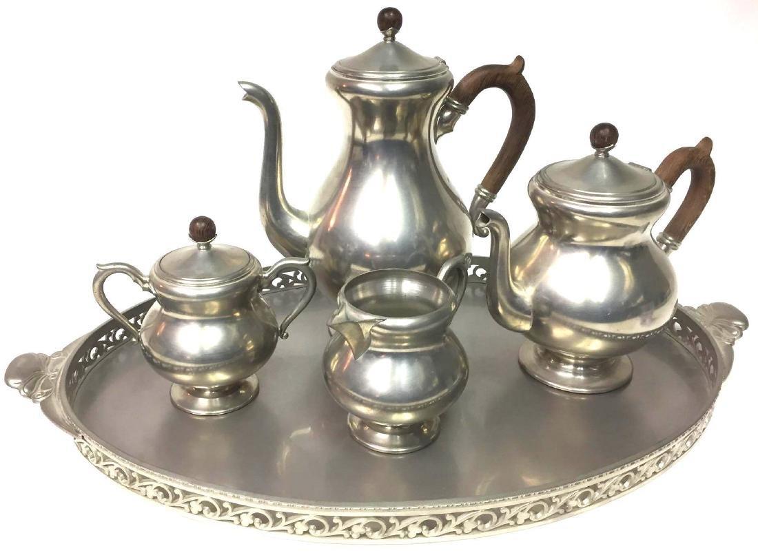 Mid-Century Modern Pewter Coffee/Tea Set