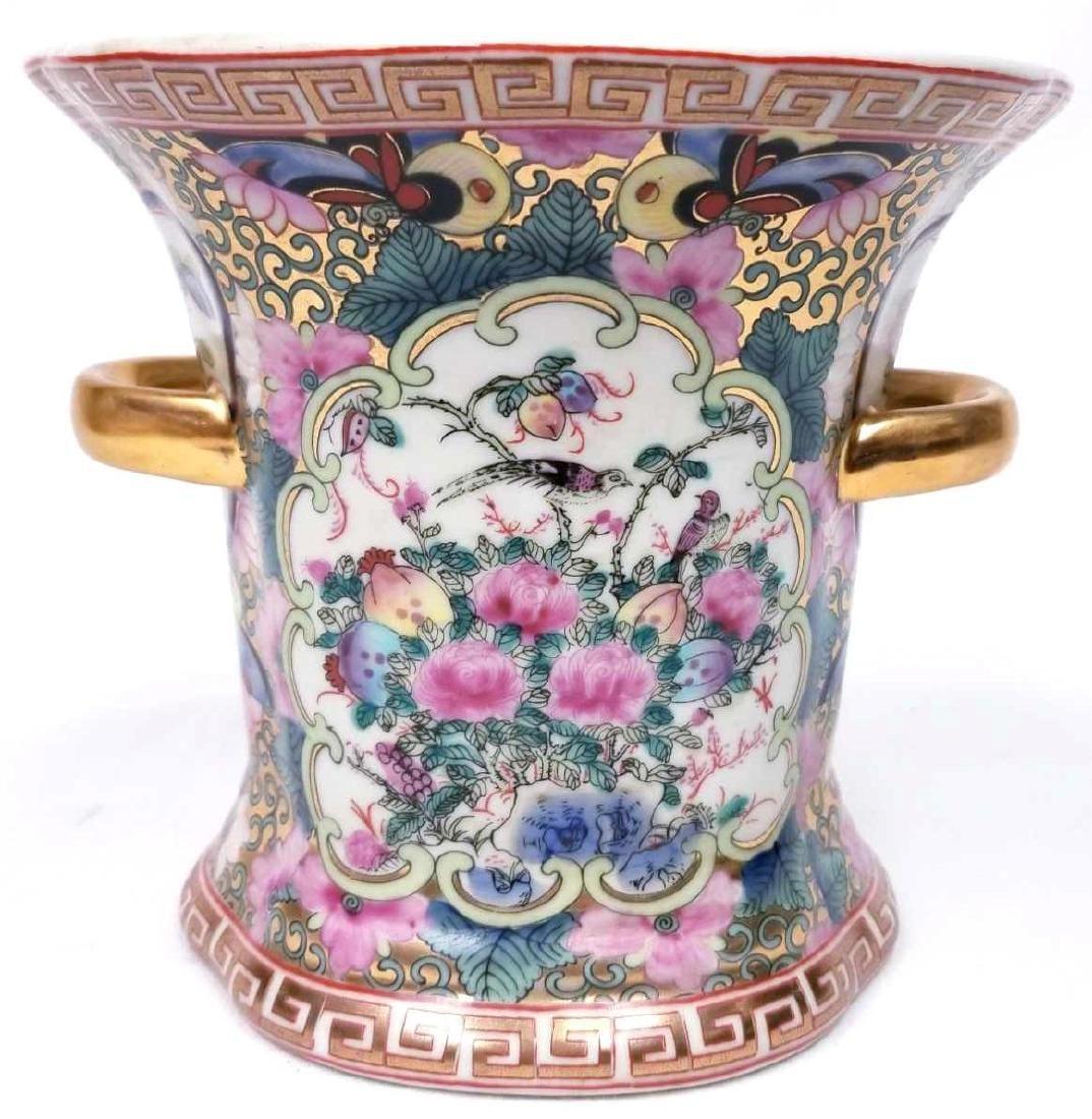 Antique Rose Medallion Double Handled Porcelain Vase