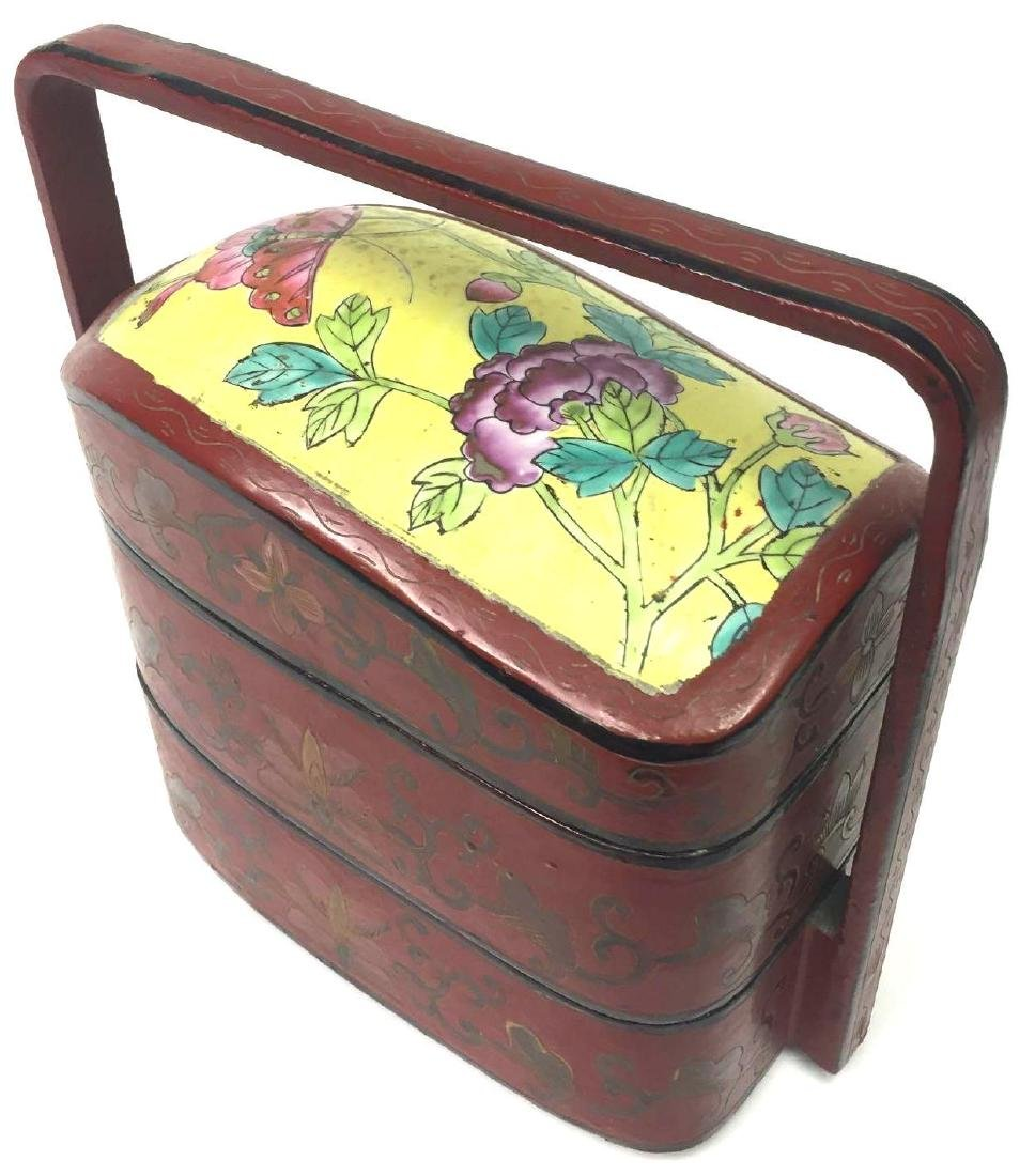 Chinese Porcelain Lacquer Lunch/Compartment Box