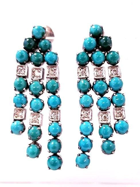 Vintage SS Turquoise & Diamond Drop Earrings