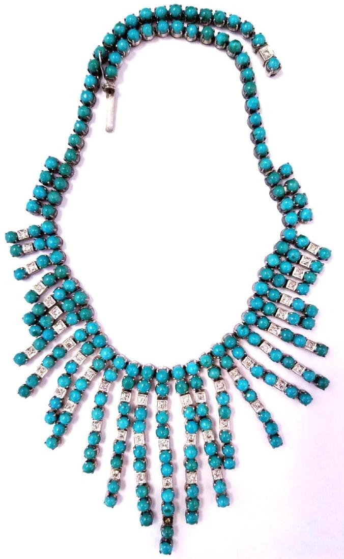 Vintage SS Turquoise & Diamond Necklace
