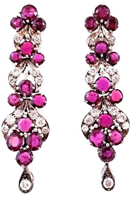 Important Vintage SS Rubellite & Diamond Earrings
