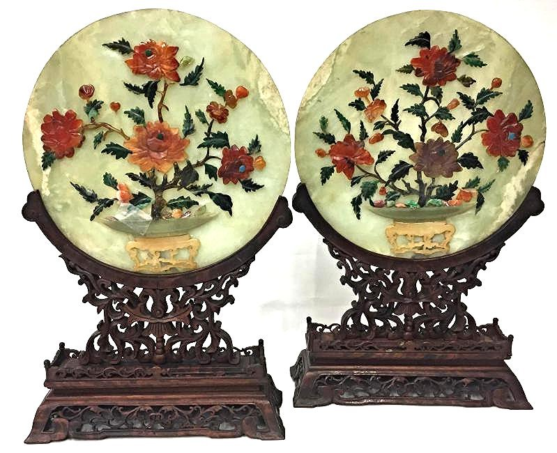 Early 20th Century Asian Round Jade Tabletop Screens