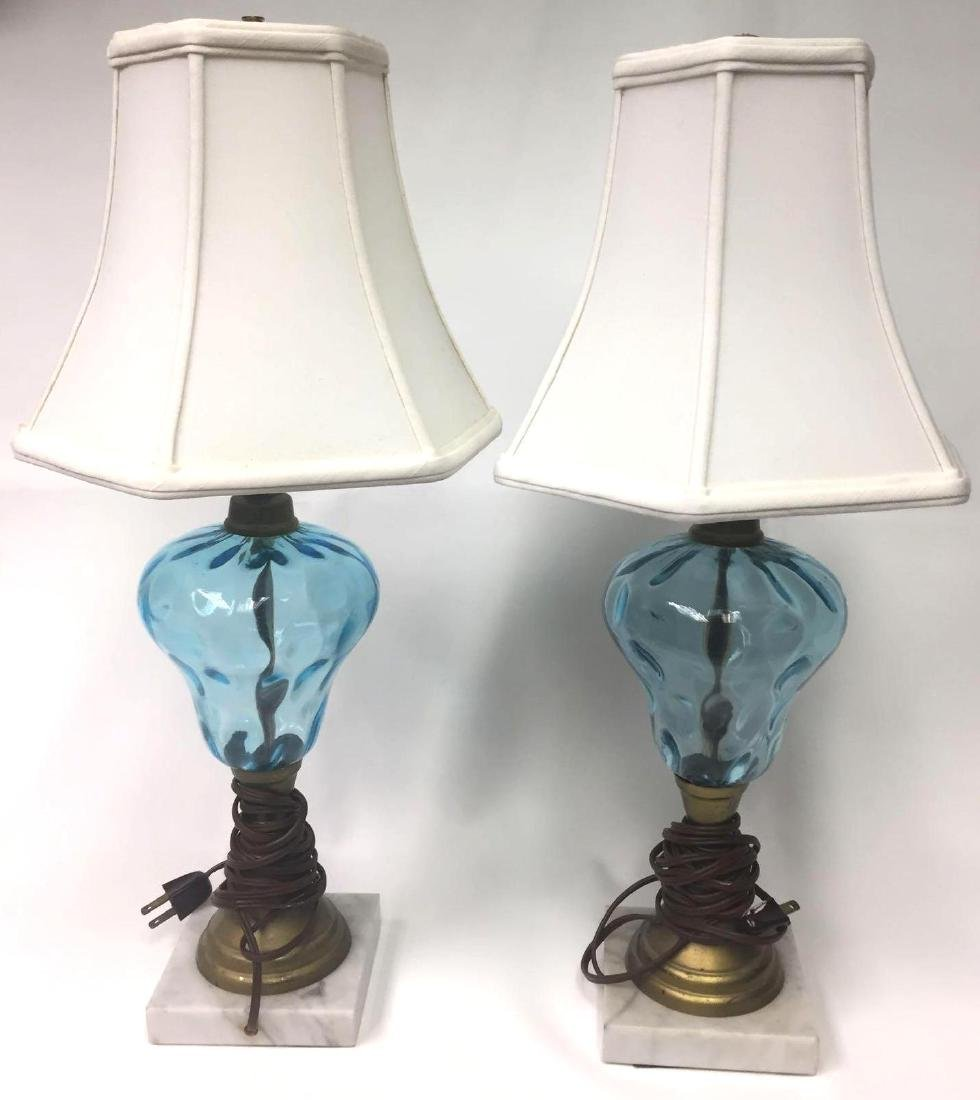 Pair of Antique Blue Glass Oil Lamps w Marble Base