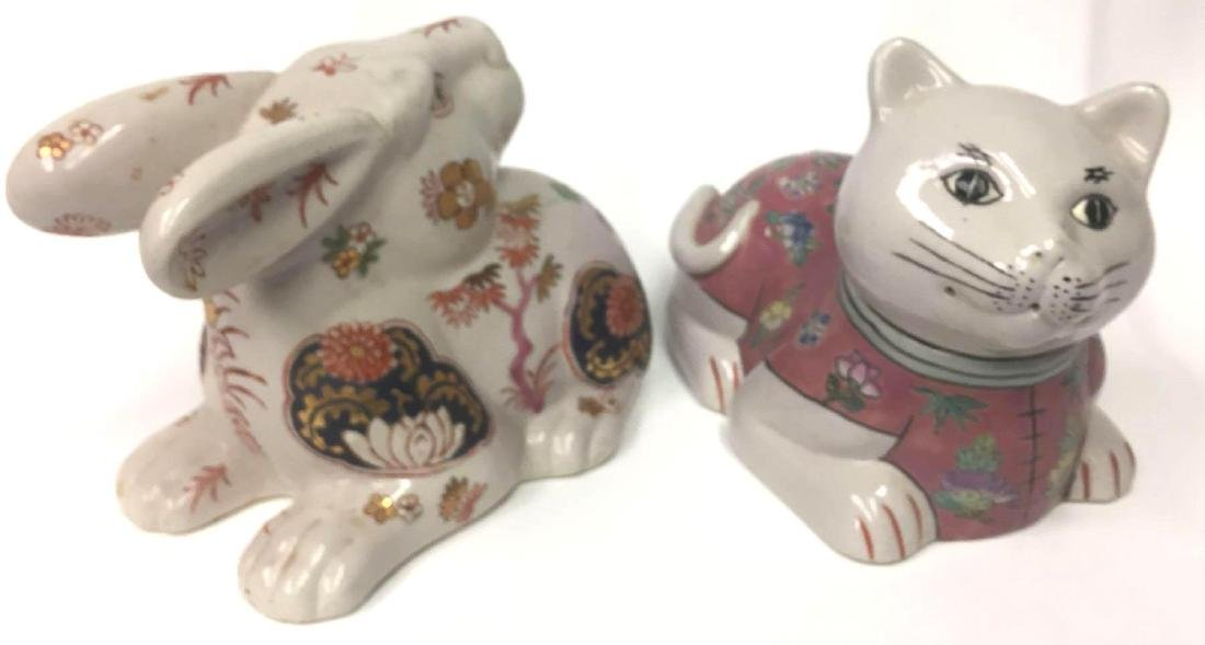 Chinese Porcelain Cat & Rabbit Figurines