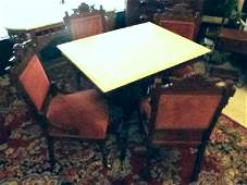 Eastlake Victorian Marble Top Parlor Table  Chairs