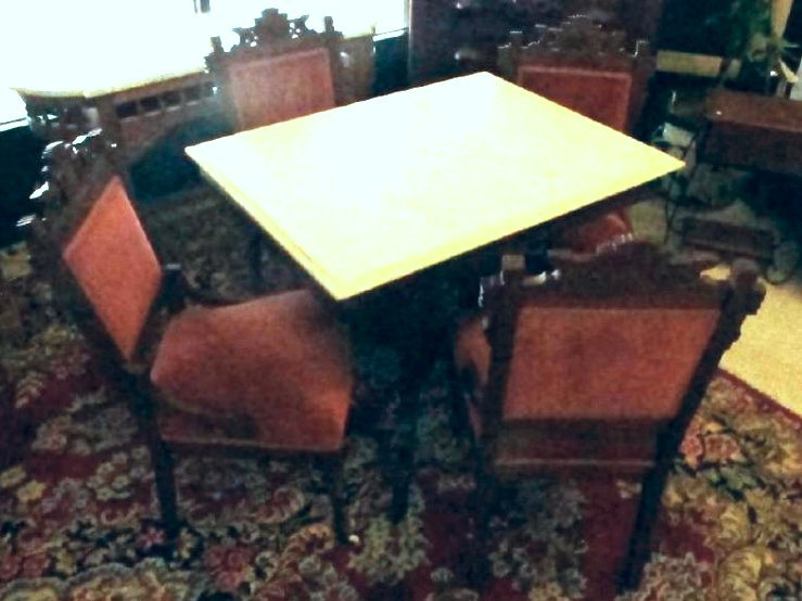 Eastlake Victorian Marble Top Parlor Table & Chairs