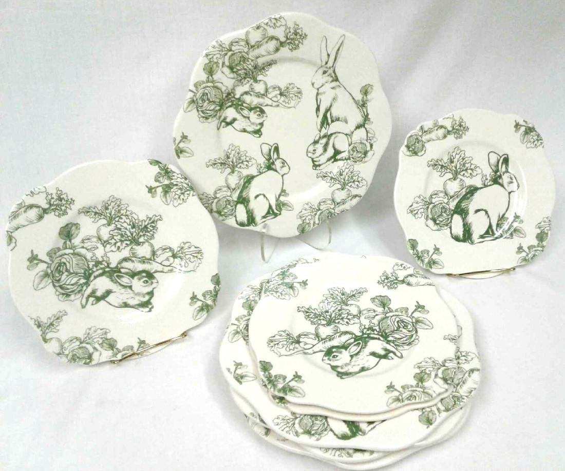 J.Willfred Bunny Toile Green Rabbits Plates