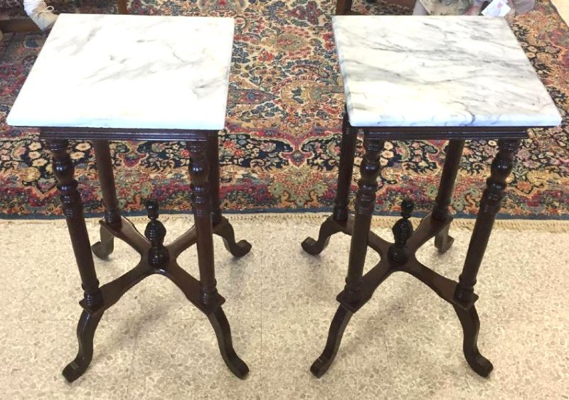 Pair Victorian Marble Top Side Tables