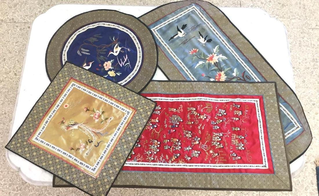 Collection of Chinese Silk Embroidered Panels