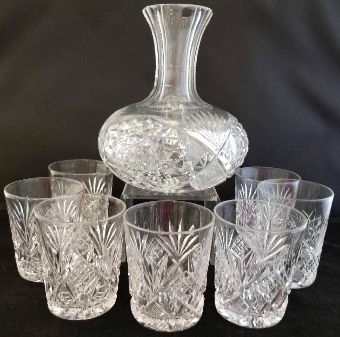 Lead Crystal Decanter & Rocks Glasses