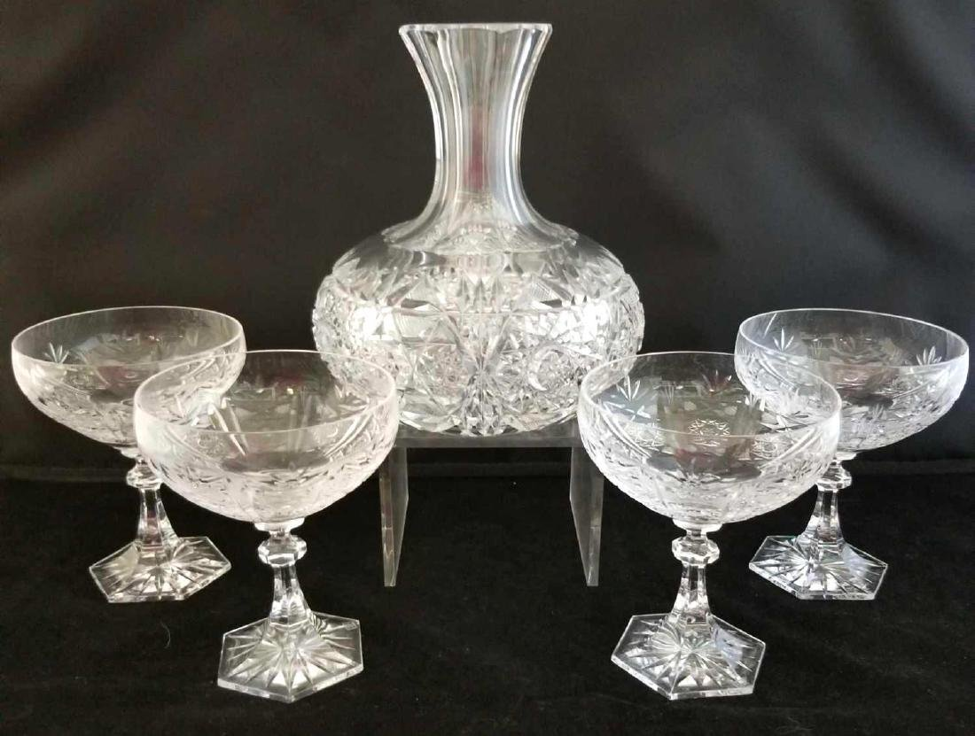 Fine Cut Crystal Decanter & Champagne Glasses