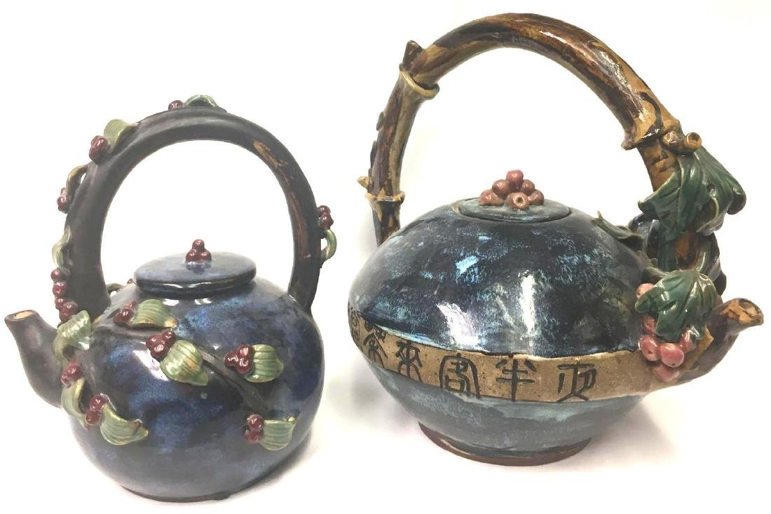 Two Decorative Chinese Pottery Ware Glazed Kettles