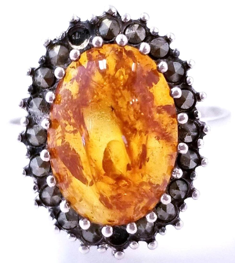SS Amber & Marcasite Ring