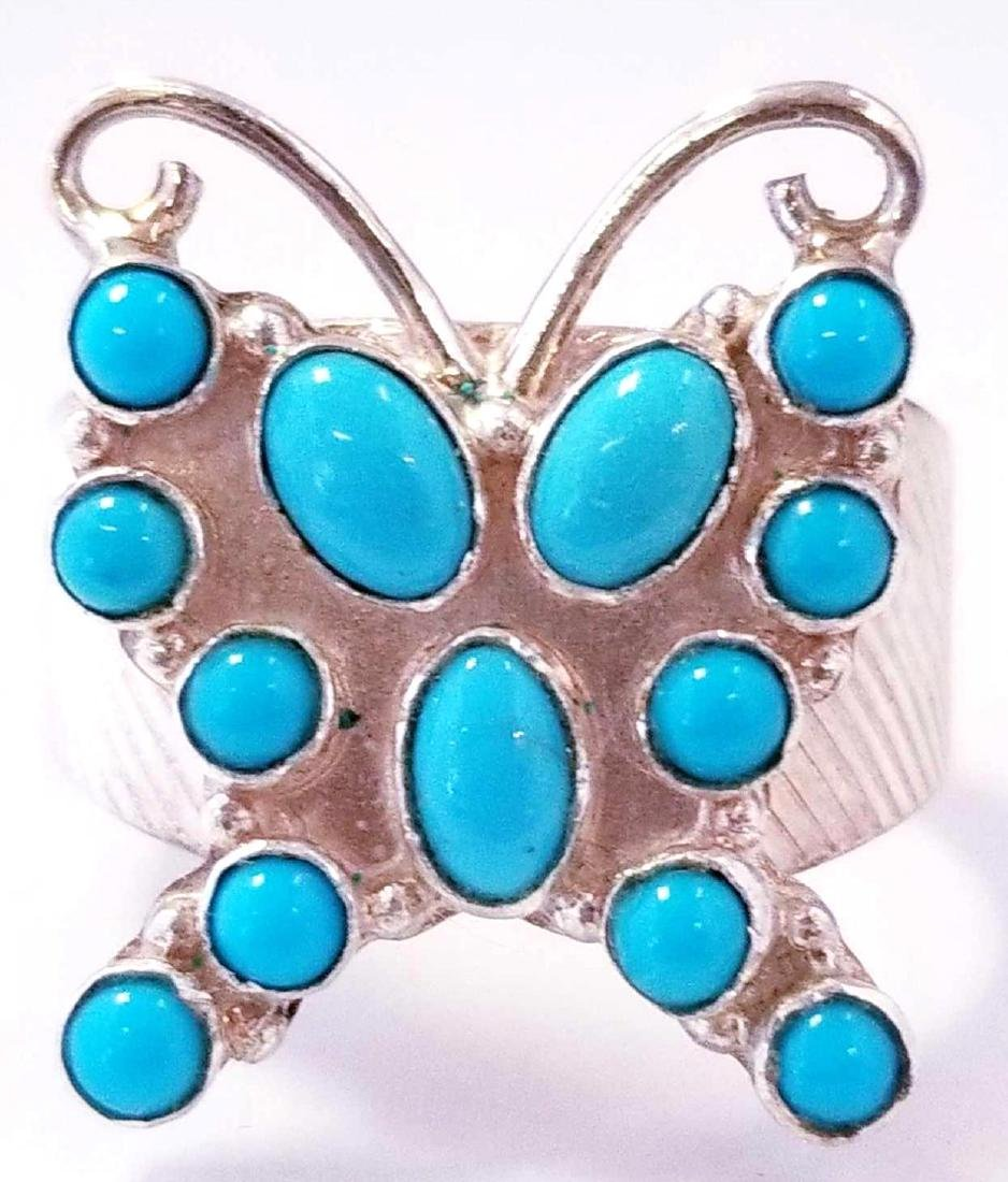 SS Turquoise Butterfly Ring
