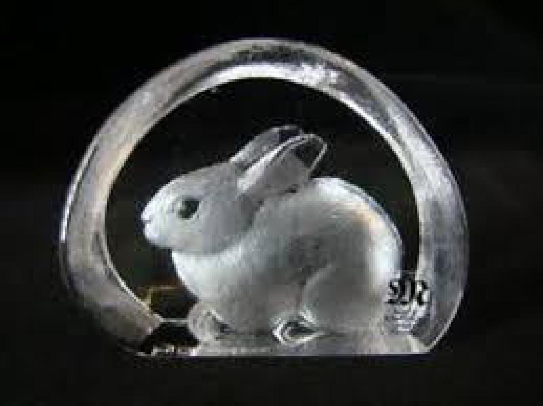 Mats Jonasson Art Glass Rabbit Paperweight
