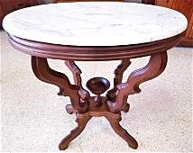 Carved Victorian Marble Top Side Table