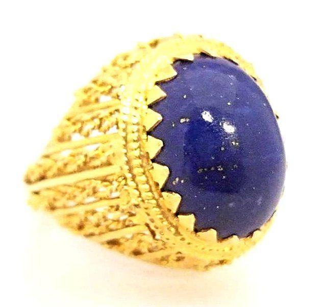 Vintage 14K Yellow Gold Lapis Dome Ring