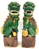 Pair Of Glazed Pottery Stoneware Chinese Foo Dogs