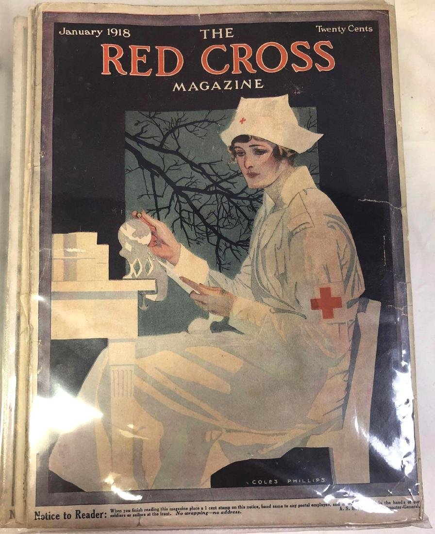 Collection Of Antique Red Cross Magazines From 1918.