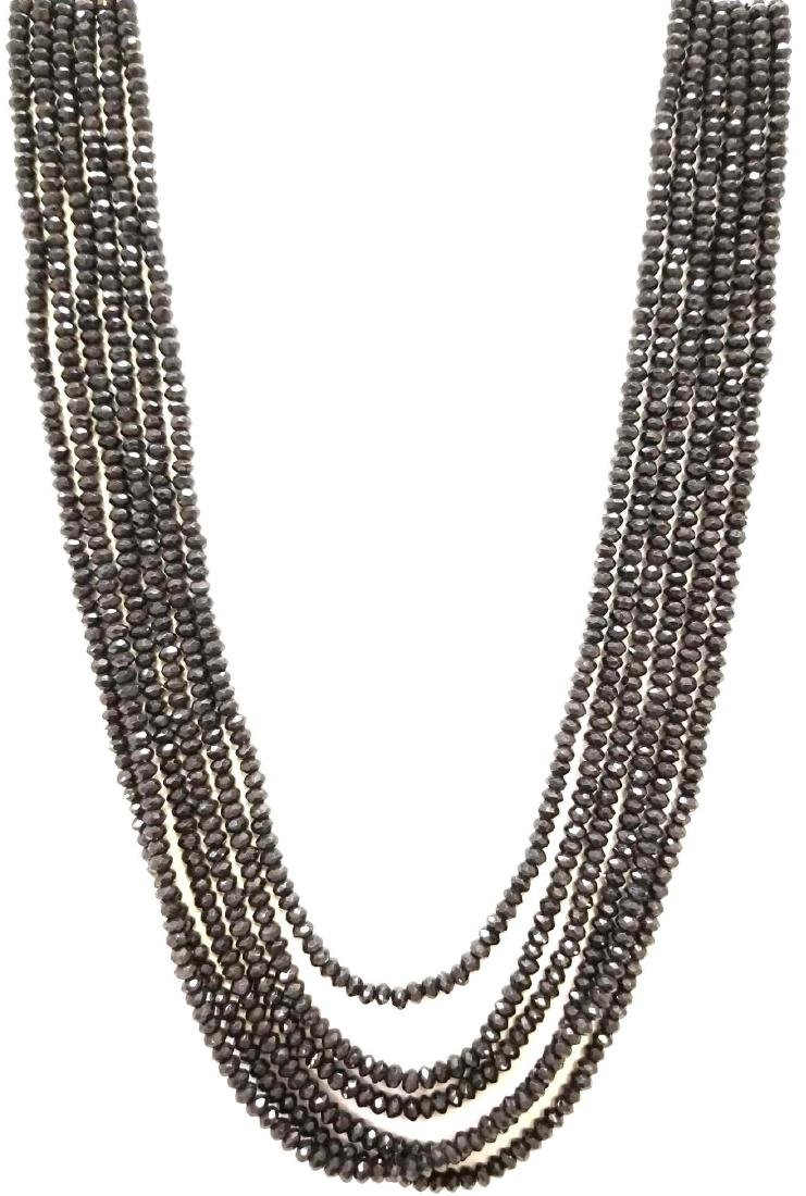 Six Strand Natural Onyx Bead Necklace. Traditional Tie